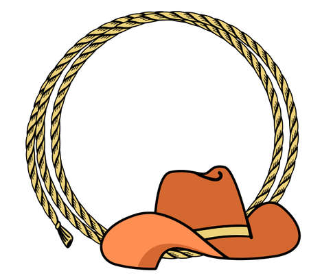 Cowboy rope frame with Western hat. Vector illustration cowboy background for text