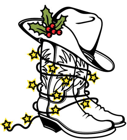 Cowboy Christmas color printable Cowboy boots and hat with holly berry and holiday lights. Western boots and hat vector illustration isolated on white for design