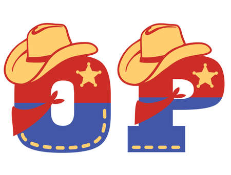 English alphabet. Vector illustration of letter O and P with western decoration Cowboy hat and sheriff star isolated on white background. Cowboy baby cartoon party style characters