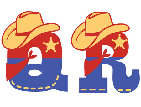English alphabet. Vector illustration of letter Q and R with western decoration Cowboy hat and sheriff star isolated on white background. Cowboy baby cartoon party style characters