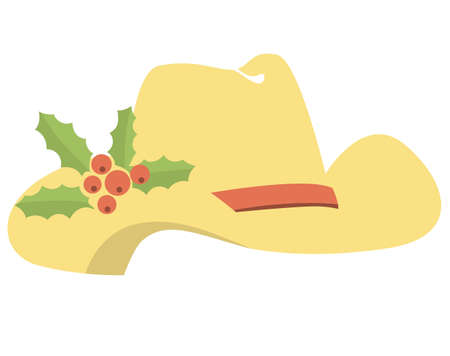 Cowboy hat with Christmas holly berry. Country Christmas holiday symbol of Vector illustration isolated on white for design