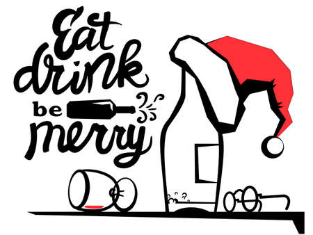 Christmas greeting card with text. Vector black graphic illustration of christmas holiday table with alcohol and Santa hat on bottle isolated on white.