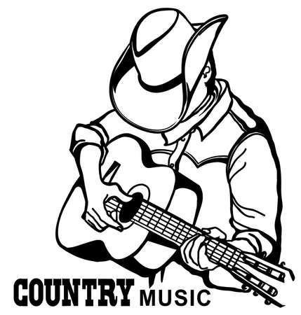 Man in american cowboy hat playing acoustic guitar. Vector country music graphic illustration isolatedon white with text for design