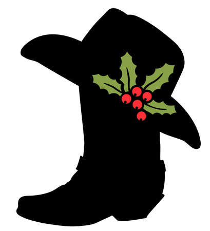 Cowboy Merry Christmas. Vector printable illustration with Cowboy boot silhouette and Western hat and holly berry decoration isolated on white for design 矢量图像