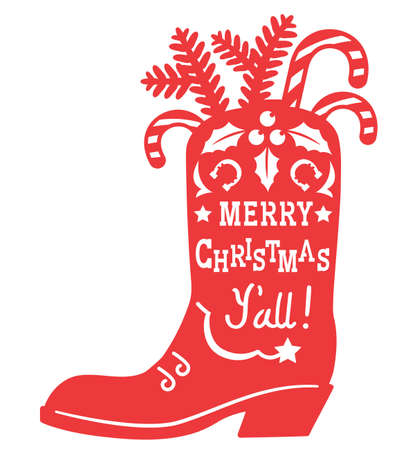 Cowboy Merry Christmas. Vector printable red illustration with Cowboy Country boot silhouette and holiday text isolated on white for design