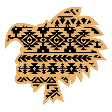 Aztec Tribal warrior with aztec Southwest pattern. Vector illustration warrior black silhouette traditional pattern isolated on white for design.