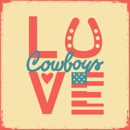 Country Love Cowboy vector printable symbol text. Country vinatage poster on old paper texture background for design