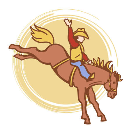 Cowboy riding a wild horse. Rodeo vector color illustration isolated on white for design.