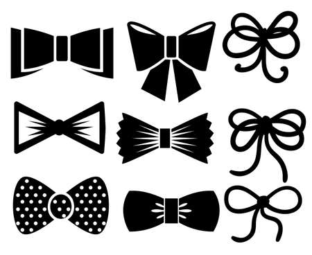 set of vector graphic decorative bows black ribbons silhouette. Vector set ceremony card decor, invitation design element isolated on white