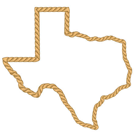Texas map with lasso rope frame isolated on white for design. Texas color sign symbol