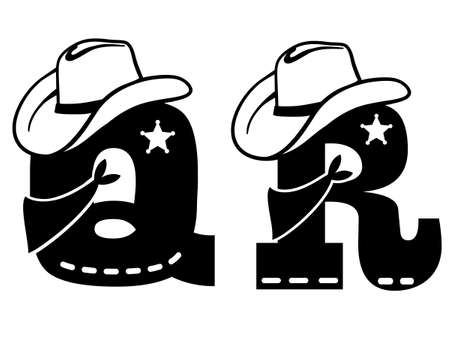 English alphabet black silhouette. Vector illustration of letter Q and R with western decoration Cowboy hat and sheriff star isolated on white background. Cowboy baby cartoon party style characters