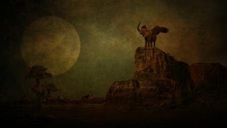 manipulation: Elephant in moonlight  Stock Photo