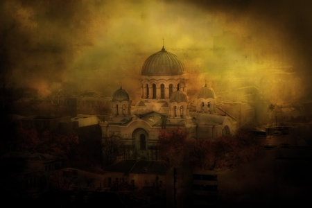 manipulation: Old Cathedral Stock Photo