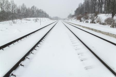 kaunas: snow between the rails