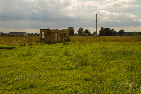 bombed city: Abandoned wagon in the fields