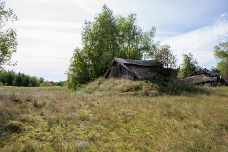 bombed city: Abandoned and ruined farmstead Stock Photo