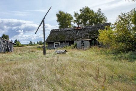 dilapidated wall: Abandoned grange Stock Photo