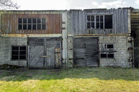 bombed city: Abandoned and ruined garage Stock Photo