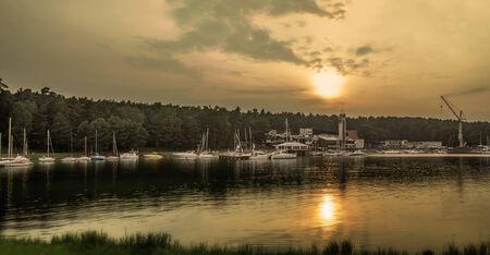 Yachts at sunset photo