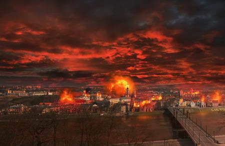 brennende Stadt Standard-Bild