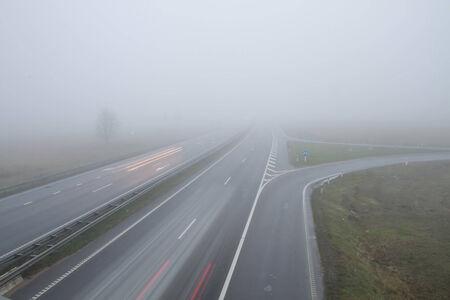 highway in fog photo