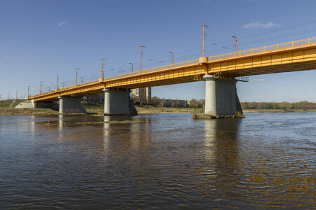 bridge over water: yellow bridge over the Neman