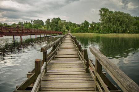 bridge over water: the swinging bridge over the lake