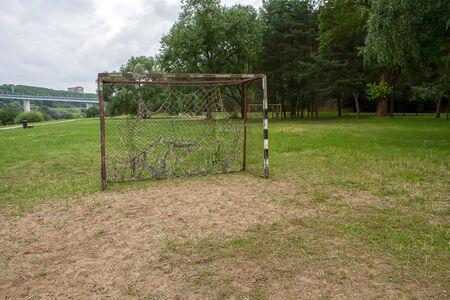drilled: Gateway to football match Stock Photo