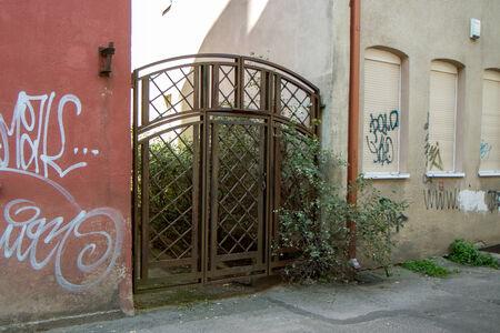 metal gate: metal gate into the yard