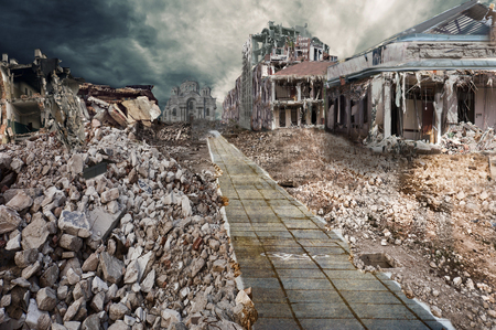 end of the world: Ruined houses of street