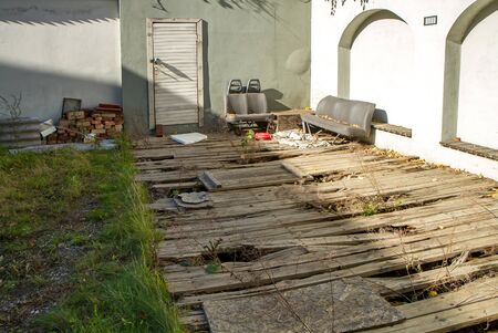 abandoned house: Courtyard Stock Photo