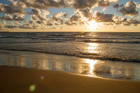 uninhabited: Sunny evening by the sea Stock Photo