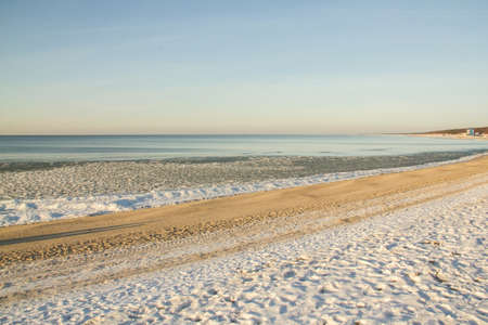 baltic: Ice-covered beach on the coast of the Baltic Sea Stock Photo