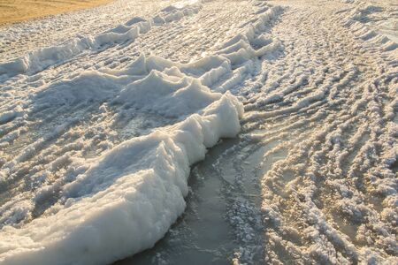 baltic sea: Ice-covered beach