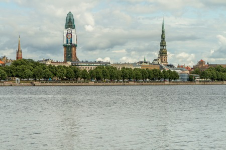 to other side: Riga city view from the other side of the river Stock Photo
