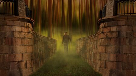 cataclysm: Man chosen path in the woods Stock Photo