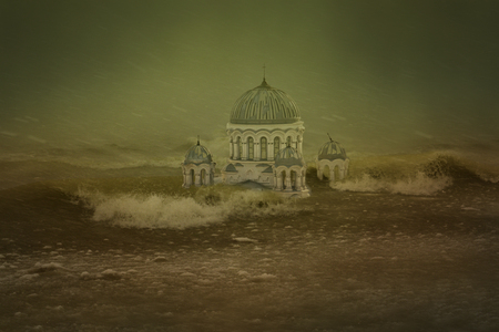 abandoned house: City, which is submerged in water