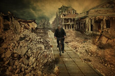 city alley: Desolate cities, in which the cyclist rides Stock Photo