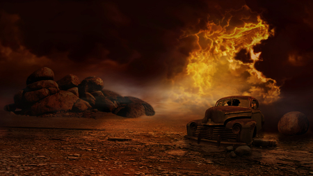 cataclysm: Fantasy about an old car left in the desert