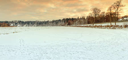 frozen river: frozen River in sunset
