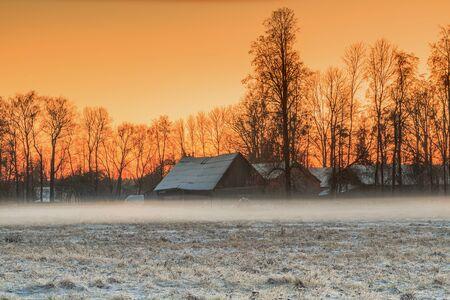 homestead: Homestead In Sunset Stock Photo