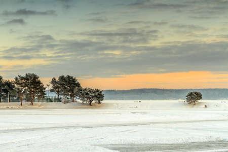 kaunas: Kaunas lagoon in winter evening Stock Photo