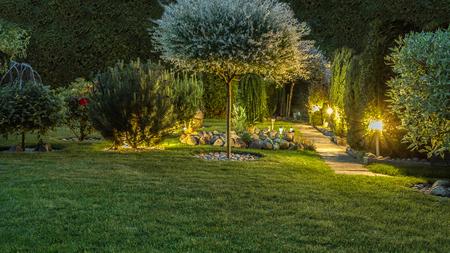 Lumières dans le jardin Banque d'images - 60248657