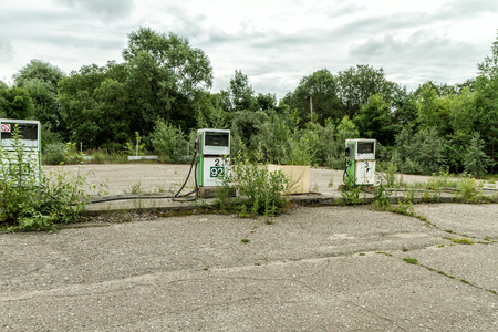abandoned gas station: Abandoned gas station and store