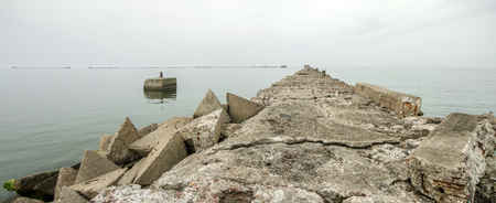 Old pier remains in Liepaja panorama