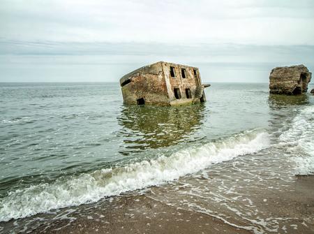 Building at sea panorama Stock Photo