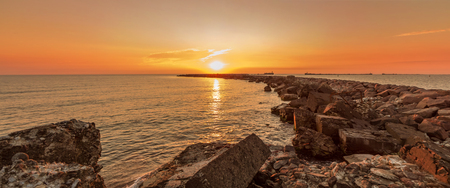 Sunset in the Baltic sea panorama Stock Photo