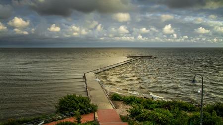 Long pier in Baltic Sea Stock Photo
