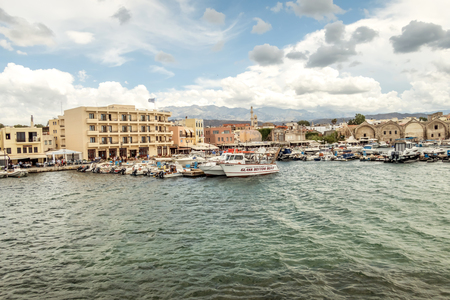 Crete Islands, city of Chania from the sea panorama