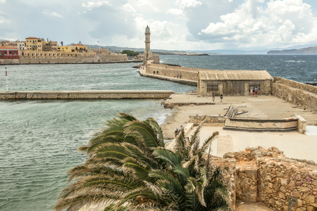 Crete Island, city of Chania, lighthouse during the summer